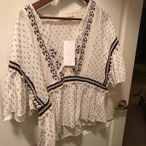 Zara NWT embroidered top